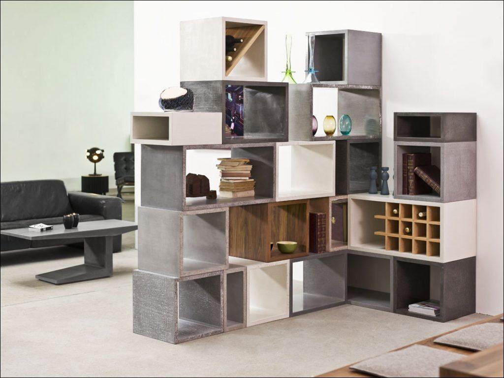 Modulares Regalsystem Cubeline aus Beton
